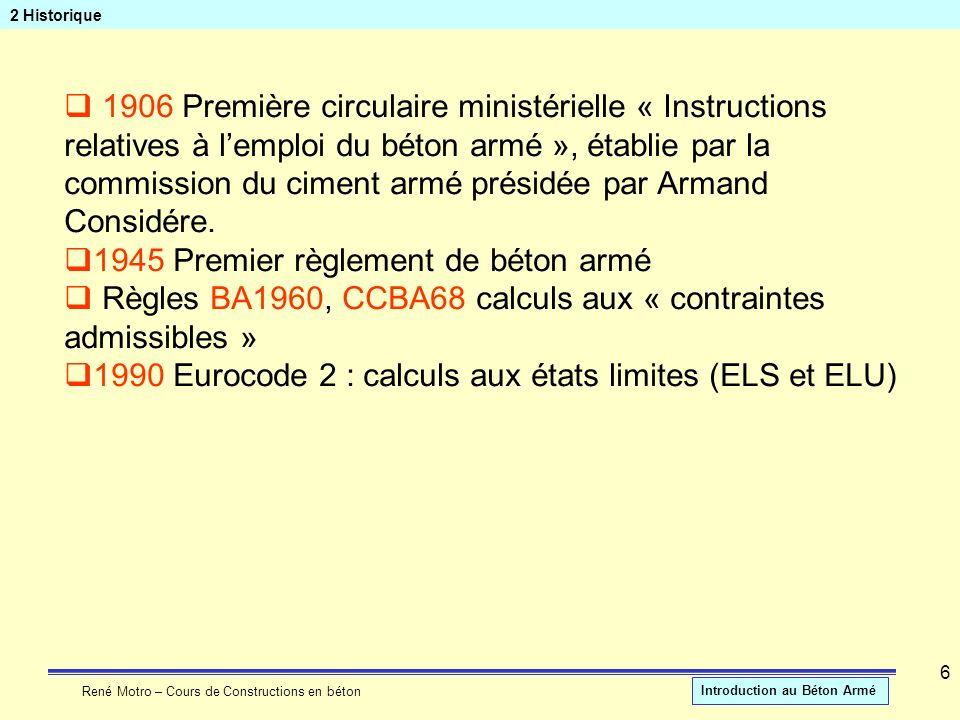 René Motro – Cours de Constructions en béton Introduction au Béton Armé 6 2 Historique 1906 Première circulaire ministérielle « Instructions relatives