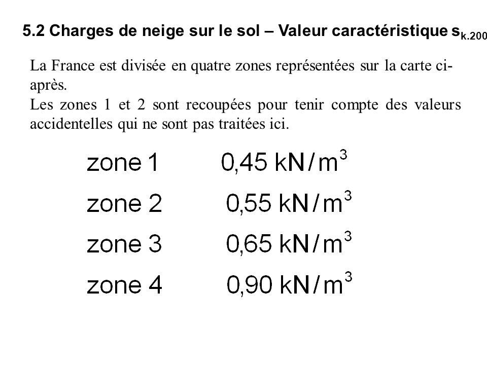 5.2 Charges de neige sur le sol – Valeur caractéristique s k.200 La France est divisée en quatre zones représentées sur la carte ci- après. Les zones