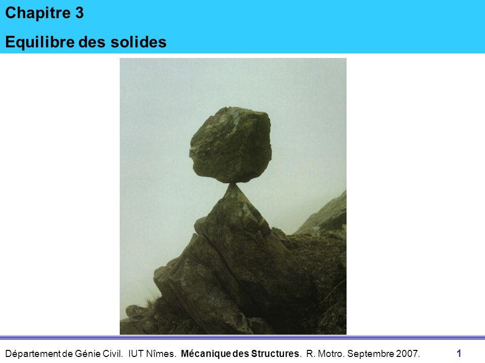 Département de Génie Civil. IUT Nîmes. Mécanique des Structures. R. Motro. Septembre 2007. 1 Chapitre 3 Equilibre des solides