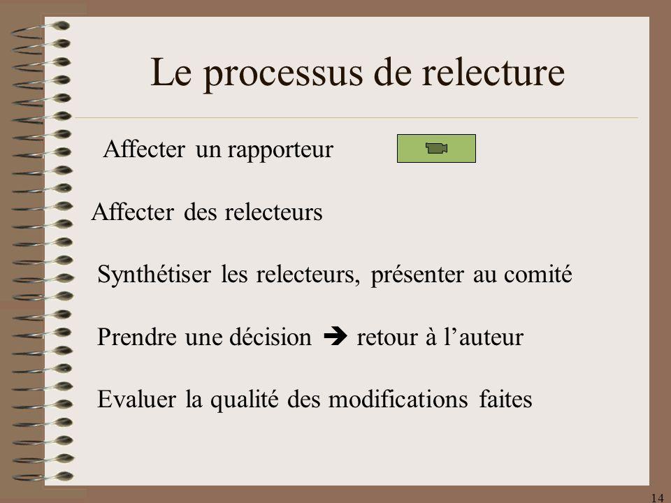 14 Affecter un rapporteur Affecter des relecteurs Synthétiser les relecteurs, présenter au comité Prendre une décision retour à lauteur Evaluer la qualité des modifications faites Le processus de relecture