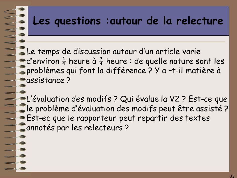 32 Les questions :autour de la relecture Le temps de discussion autour dun article varie denviron ¼ heure à ¾ heure : de quelle nature sont les problèmes qui font la différence .