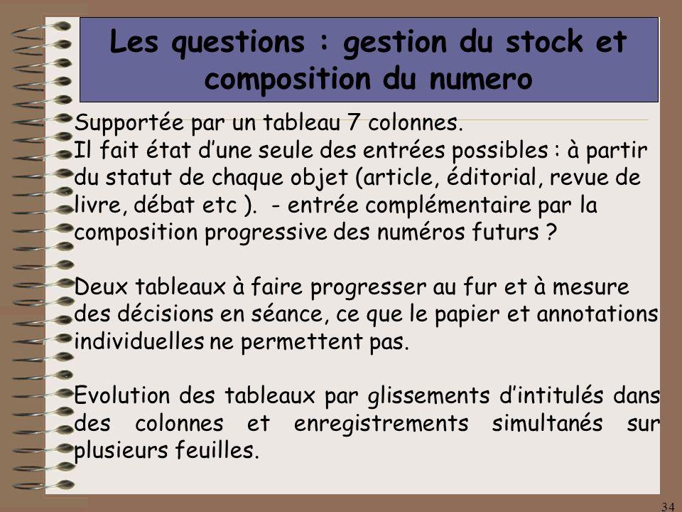 34 Les questions : gestion du stock et composition du numero Supportée par un tableau 7 colonnes.