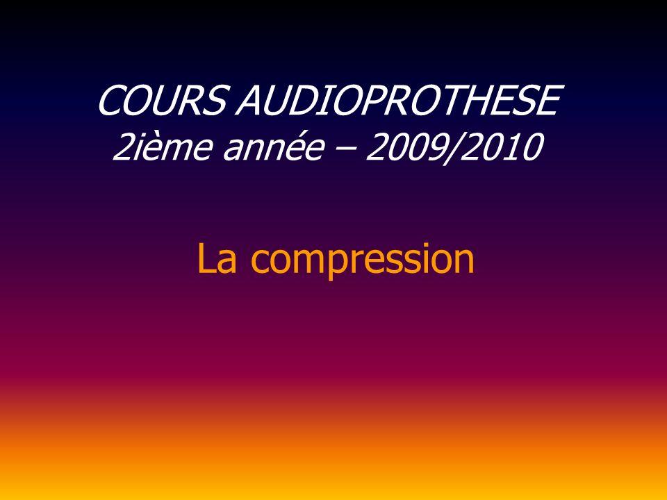 COURS AUDIOPROTHESE 2ième année – 2009/2010 La compression