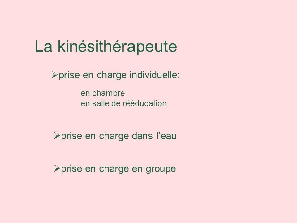 La kinésithérapeute prise en charge individuelle: en chambre en salle de rééducation prise en charge en groupe prise en charge dans leau