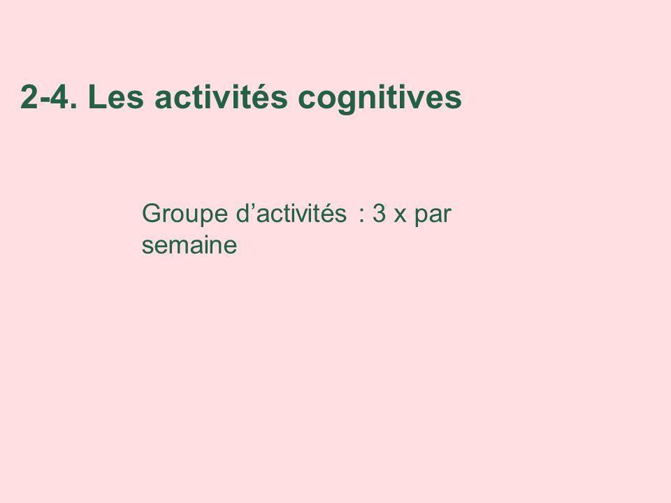 2-4. Les activités cognitives Groupe dactivités : 3 x par semaine