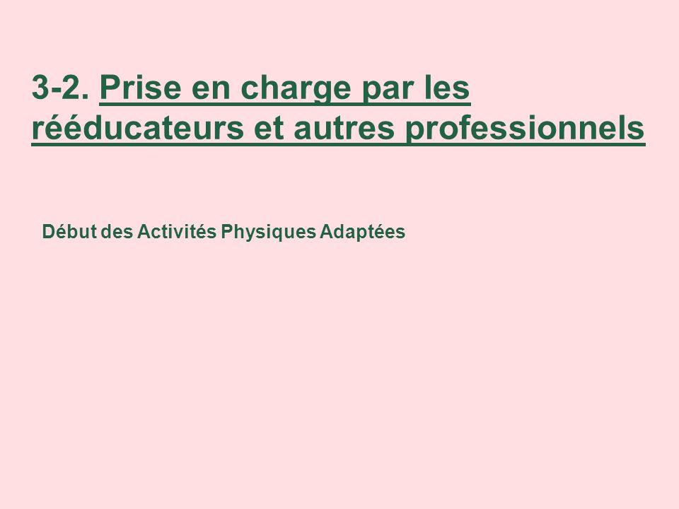 3-2. Prise en charge par les rééducateurs et autres professionnels Début des Activités Physiques Adaptées