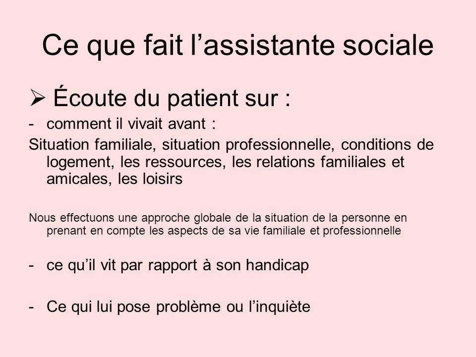 Ce que fait lassistante sociale Écoute du patient sur : -comment il vivait avant : Situation familiale, situation professionnelle, conditions de logem