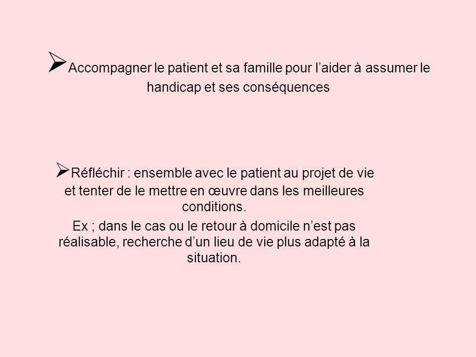 Accompagner le patient et sa famille pour laider à assumer le handicap et ses conséquences Réfléchir : ensemble avec le patient au projet de vie et te