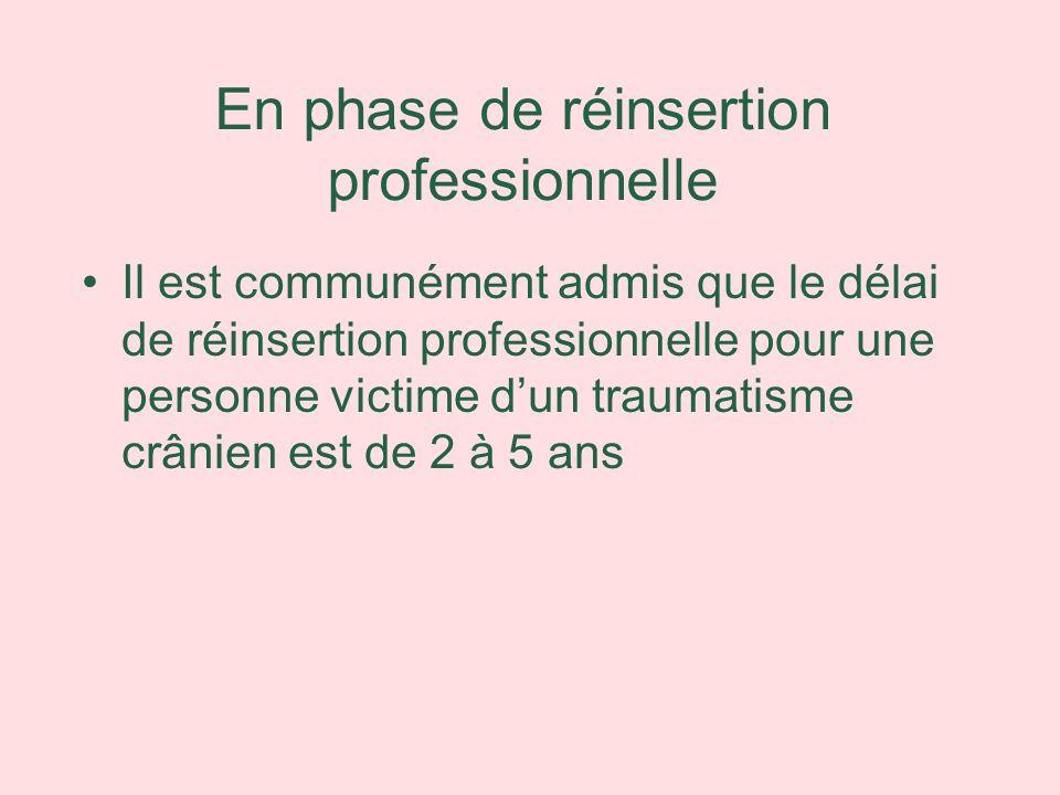 En phase de réinsertion professionnelle Il est communément admis que le délai de réinsertion professionnelle pour une personne victime dun traumatisme