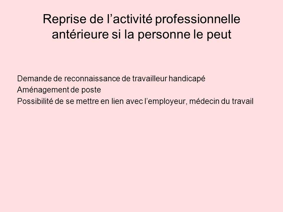Reprise de lactivité professionnelle antérieure si la personne le peut Demande de reconnaissance de travailleur handicapé Aménagement de poste Possibi