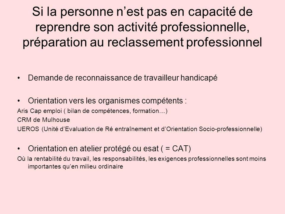 Si la personne nest pas en capacité de reprendre son activité professionnelle, préparation au reclassement professionnel Demande de reconnaissance de