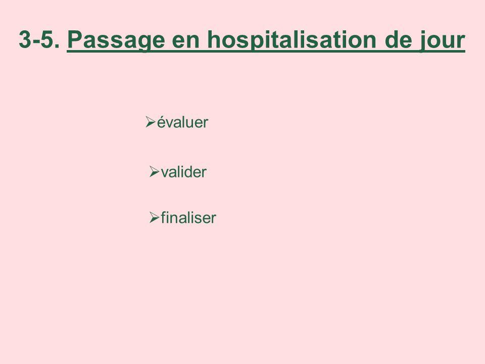 évaluer valider finaliser 3-5. Passage en hospitalisation de jour