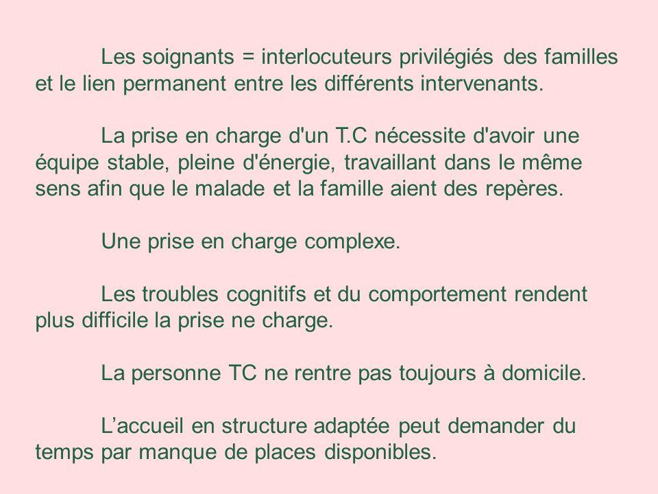 Les soignants = interlocuteurs privilégiés des familles et le lien permanent entre les différents intervenants. La prise en charge d'un T.C nécessite