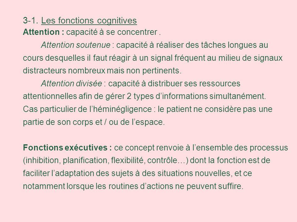 3-1. Les fonctions cognitives Attention : capacité à se concentrer. Attention soutenue : capacité à réaliser des tâches longues au cours desquelles il
