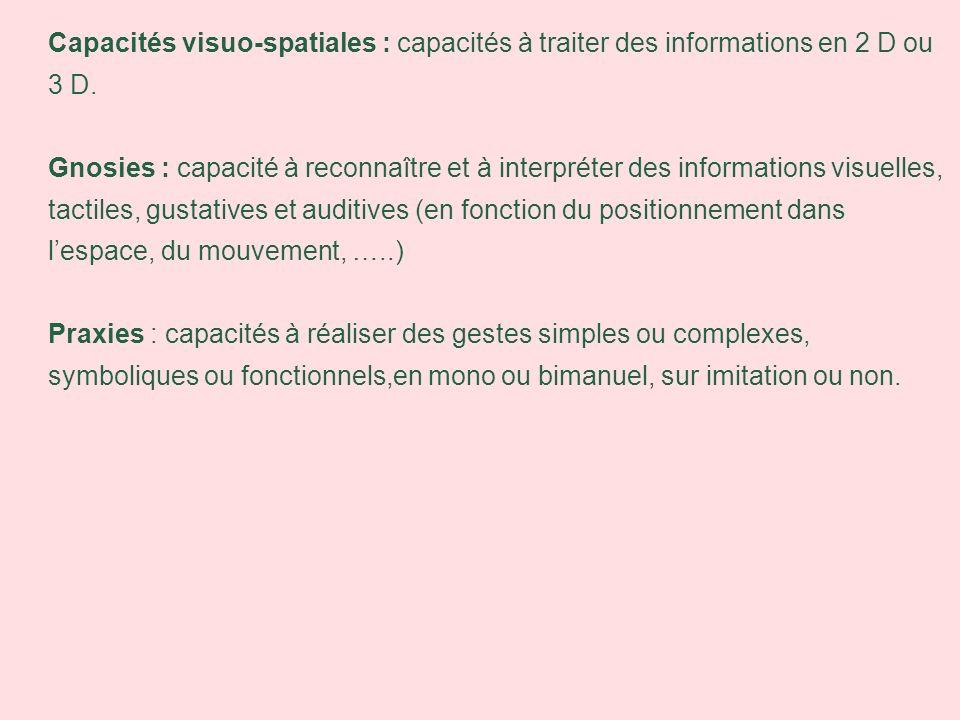 Capacités visuo-spatiales : capacités à traiter des informations en 2 D ou 3 D. Gnosies : capacité à reconnaître et à interpréter des informations vis