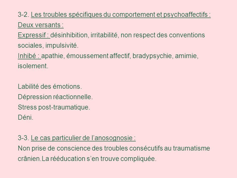 3-2. Les troubles spécifiques du comportement et psychoaffectifs : Deux versants : Expressif : désinhibition, irritabilité, non respect des convention