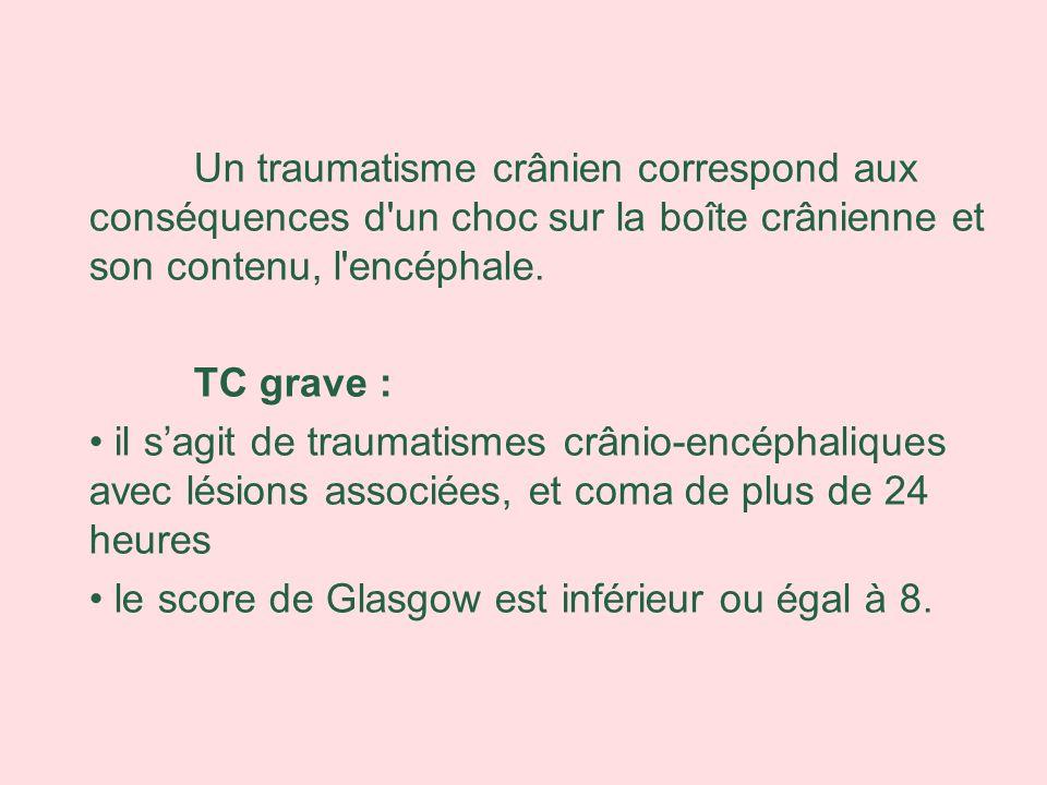 Un traumatisme crânien correspond aux conséquences d'un choc sur la boîte crânienne et son contenu, l'encéphale. TC grave : il sagit de traumatismes c