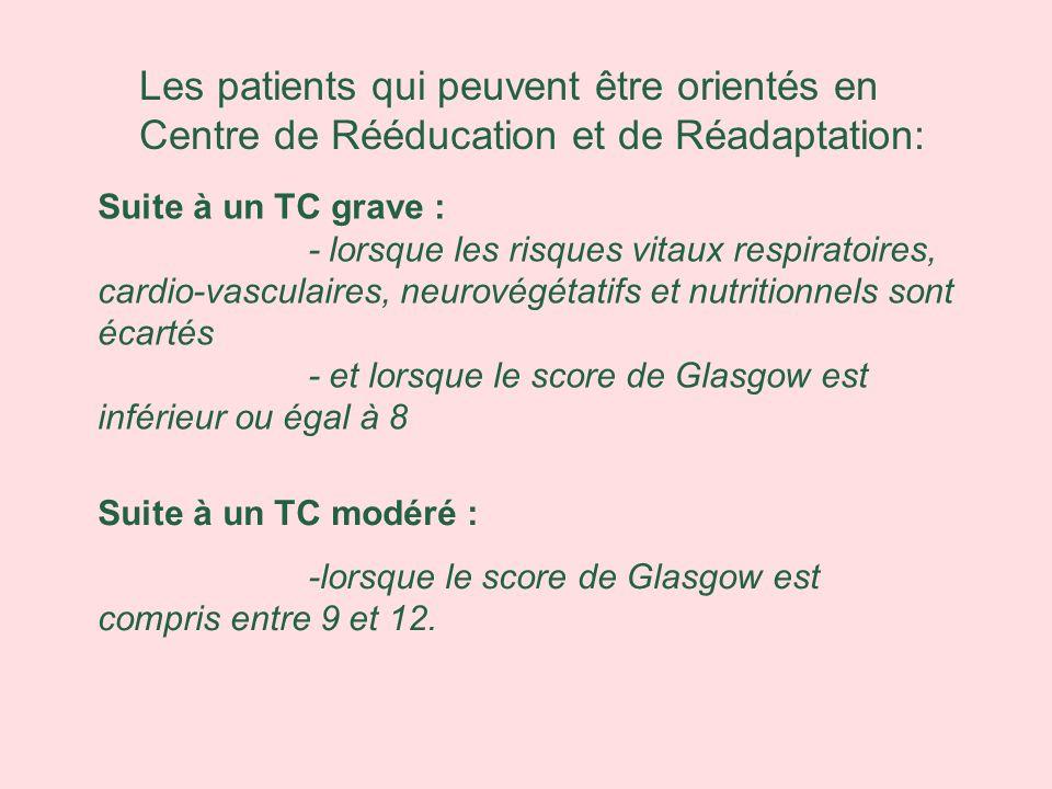 Suite à un TC grave : - lorsque les risques vitaux respiratoires, cardio-vasculaires, neurovégétatifs et nutritionnels sont écartés - et lorsque le sc