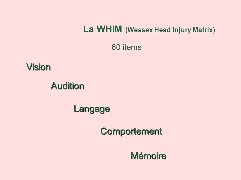 La WHIM (Wessex Head Injury Matrix) 60 items Vision Audition Langage Comportement Mémoire