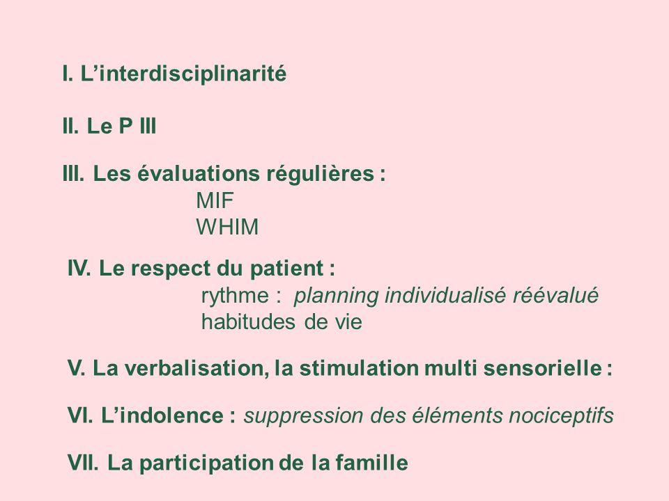 I. Linterdisciplinarité II. Le P III III. Les évaluations régulières : MIF WHIM IV. Le respect du patient : rythme : planning individualisé réévalué h