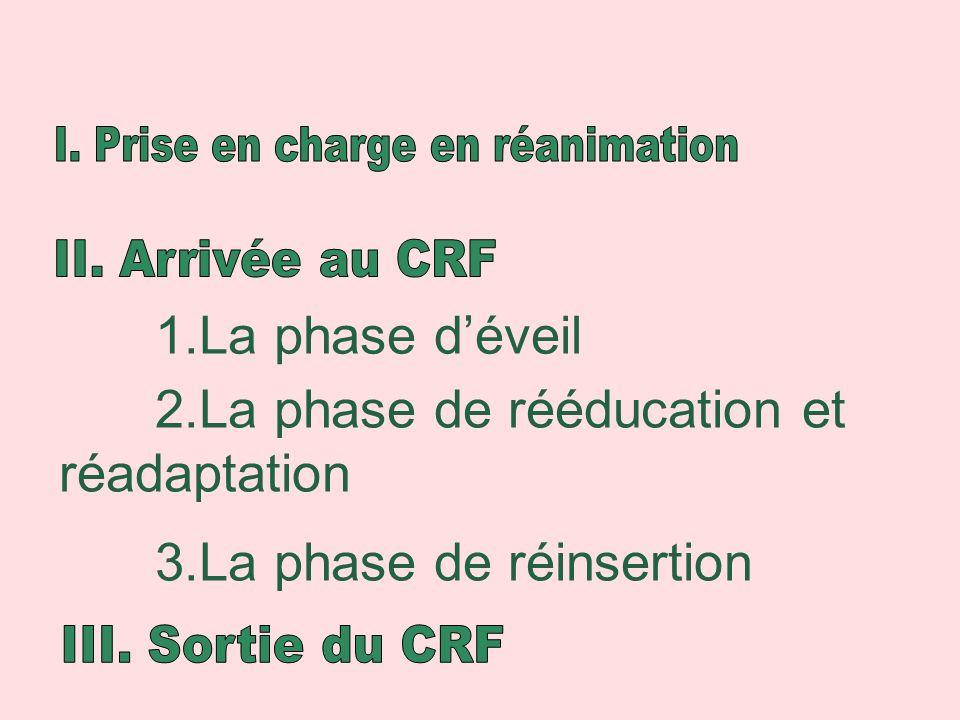 1.La phase déveil 2.La phase de rééducation et réadaptation 3.La phase de réinsertion