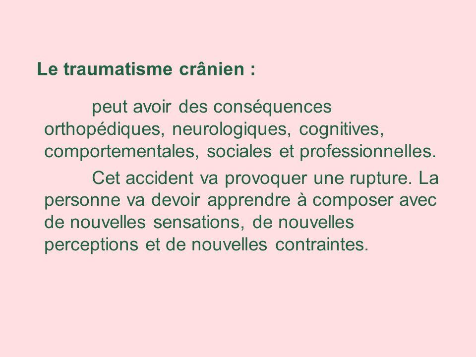 peut avoir des conséquences orthopédiques, neurologiques, cognitives, comportementales, sociales et professionnelles. Cet accident va provoquer une ru