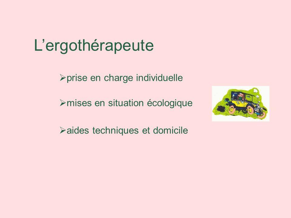 Lergothérapeute prise en charge individuelle mises en situation écologique aides techniques et domicile
