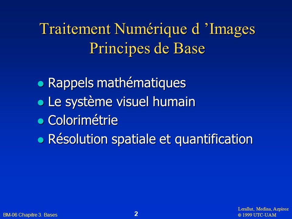 Lerallut, Medina, Azpiroz © 1999 UTC-UAM BM-06 Chapitre 3. Bases 2 Traitement Numérique d Images Principes de Base l Rappels mathématiques l Le systèm
