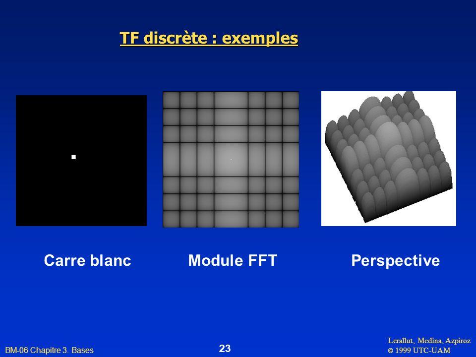 Lerallut, Medina, Azpiroz © 1999 UTC-UAM BM-06 Chapitre 3. Bases 23 TF discrète : exemples Carre blanc Module FFT Perspective