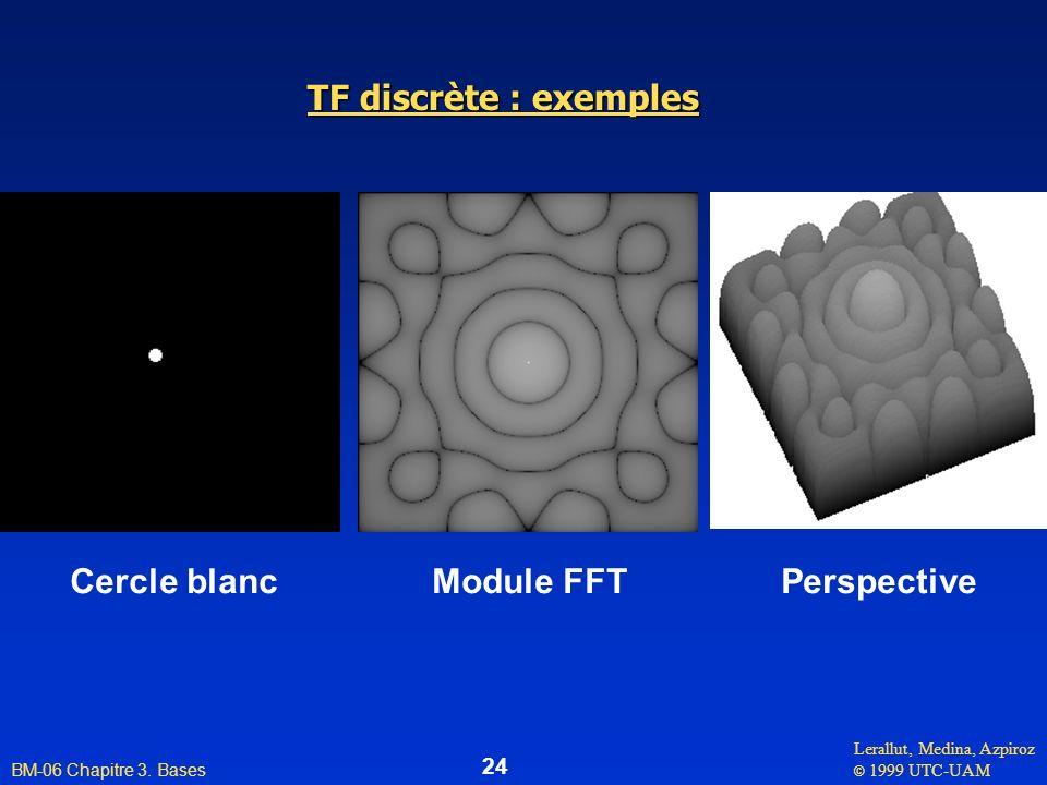 Lerallut, Medina, Azpiroz © 1999 UTC-UAM BM-06 Chapitre 3. Bases 24 TF discrète : exemples Cercle blanc Module FFT Perspective