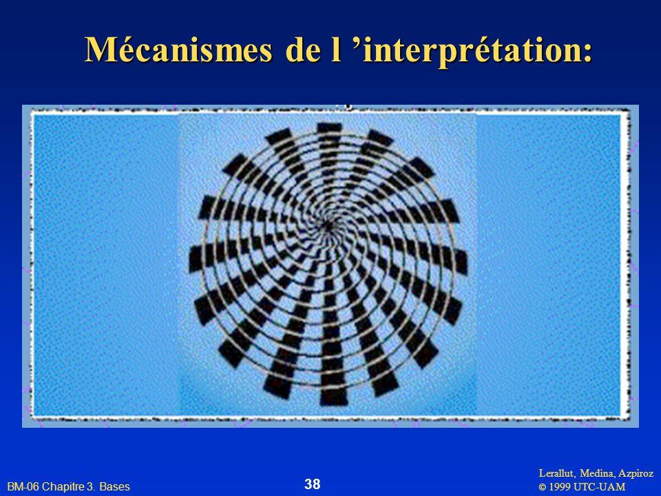 Lerallut, Medina, Azpiroz © 1999 UTC-UAM BM-06 Chapitre 3. Bases 38 Mécanismes de l interprétation: