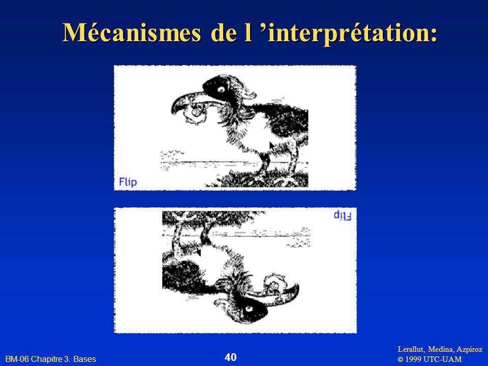 Lerallut, Medina, Azpiroz © 1999 UTC-UAM BM-06 Chapitre 3. Bases 40 Mécanismes de l interprétation: