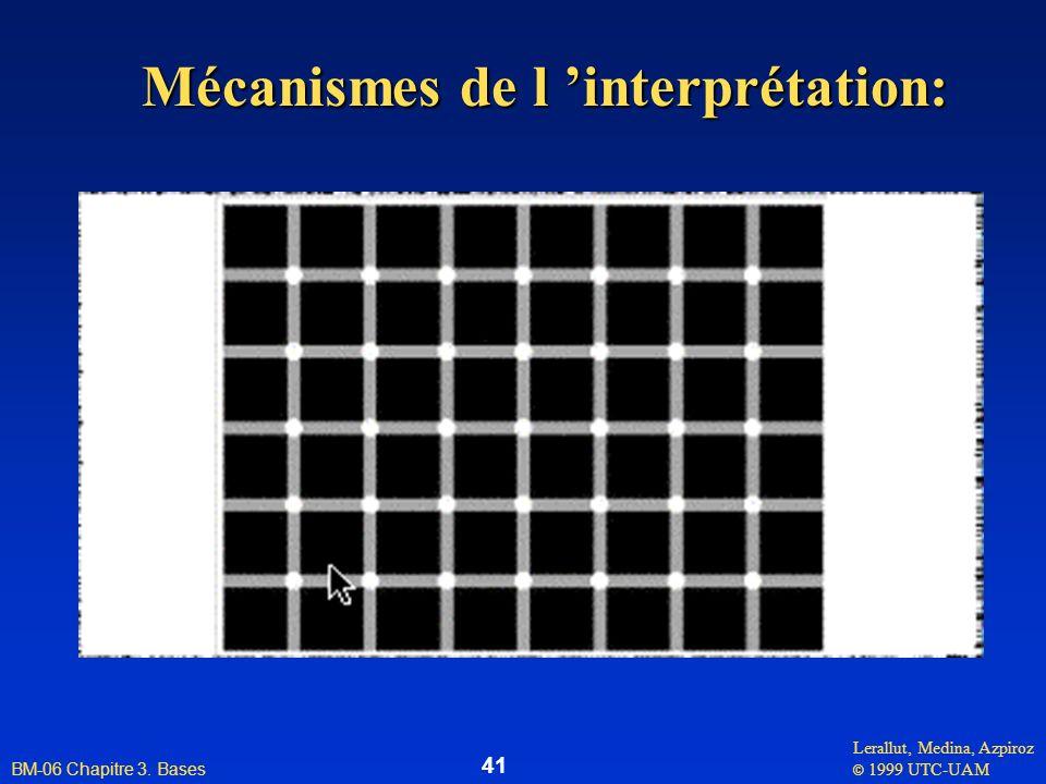 Lerallut, Medina, Azpiroz © 1999 UTC-UAM BM-06 Chapitre 3. Bases 41 Mécanismes de l interprétation:
