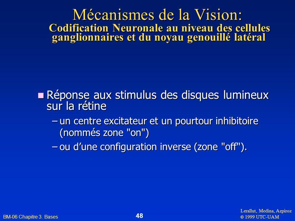 Lerallut, Medina, Azpiroz © 1999 UTC-UAM BM-06 Chapitre 3. Bases 48 Mécanismes de la Vision: Codification Neuronale au niveau des cellules ganglionnai