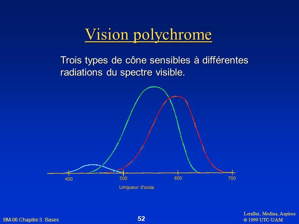 Lerallut, Medina, Azpiroz © 1999 UTC-UAM BM-06 Chapitre 3. Bases 52 Vision polychrome Trois types de cône sensibles à différentes radiations du spectr