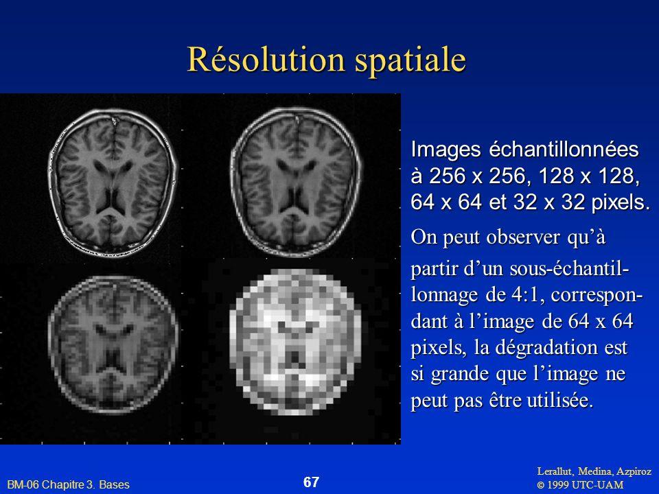 Lerallut, Medina, Azpiroz © 1999 UTC-UAM BM-06 Chapitre 3. Bases 67 Résolution spatiale Images échantillonnées à 256 x 256, 128 x 128, 64 x 64 et 32 x