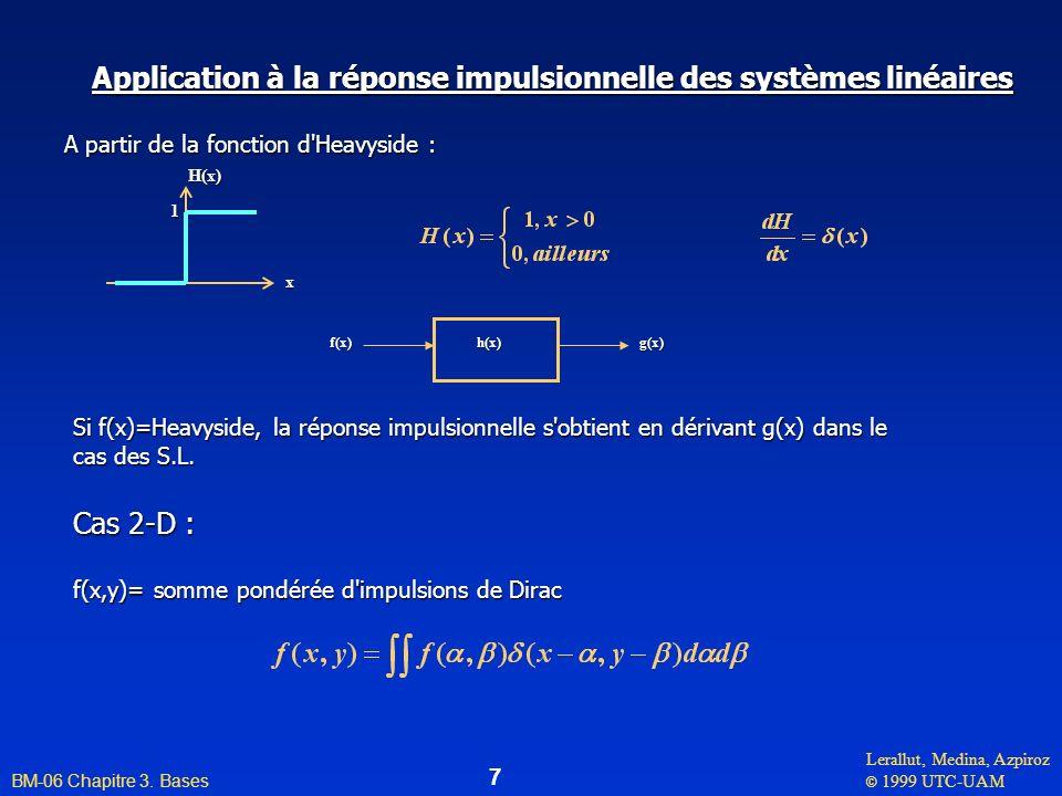 Lerallut, Medina, Azpiroz © 1999 UTC-UAM BM-06 Chapitre 3. Bases 7 Si f(x)=Heavyside, la réponse impulsionnelle s'obtient en dérivant g(x) dans le cas