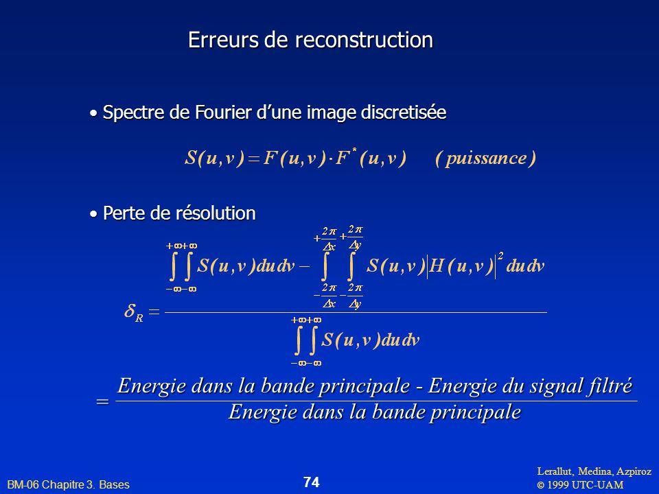 Lerallut, Medina, Azpiroz © 1999 UTC-UAM BM-06 Chapitre 3. Bases 74 Erreurs de reconstruction Spectre de Fourier dune image discretisée Spectre de Fou