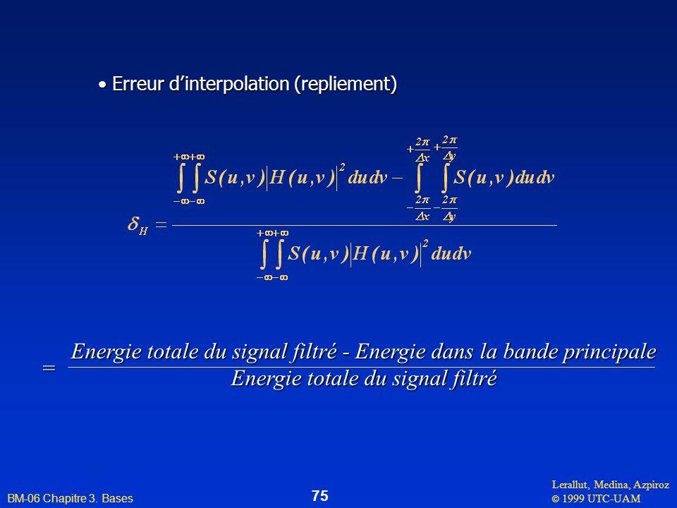 Lerallut, Medina, Azpiroz © 1999 UTC-UAM BM-06 Chapitre 3. Bases 75 Erreur dinterpolation (repliement) Erreur dinterpolation (repliement) Energie tota