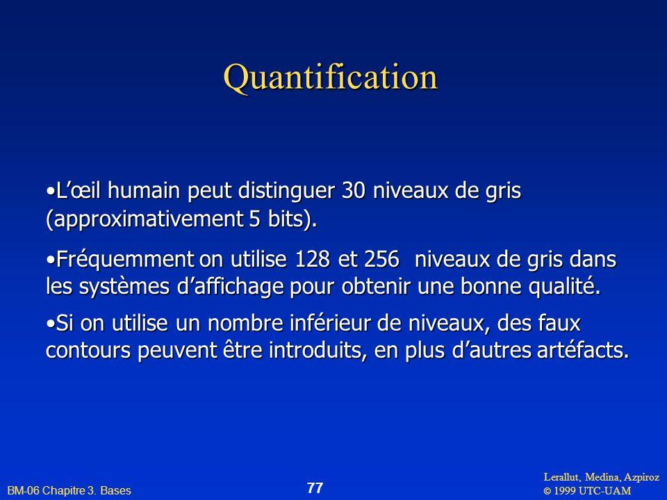 Lerallut, Medina, Azpiroz © 1999 UTC-UAM BM-06 Chapitre 3. Bases 77 Quantification Lœil humain peut distinguer 30 niveaux de grisLœil humain peut dist