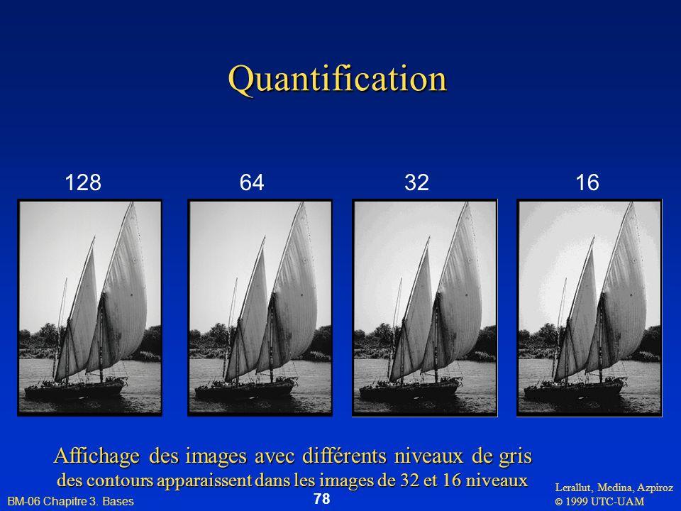 Lerallut, Medina, Azpiroz © 1999 UTC-UAM BM-06 Chapitre 3. Bases 78 Quantification 128643216 Affichage des images avec différents niveaux de gris des