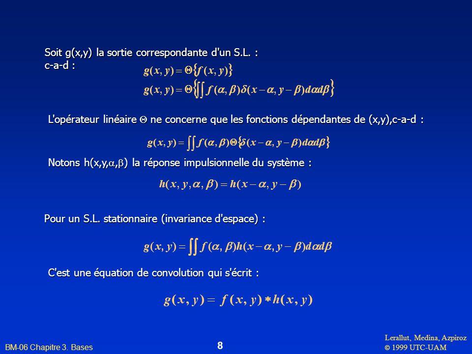Lerallut, Medina, Azpiroz © 1999 UTC-UAM BM-06 Chapitre 3. Bases 8 Soit g(x,y) la sortie correspondante d'un S.L. : c-a-d : C'est une équation de conv
