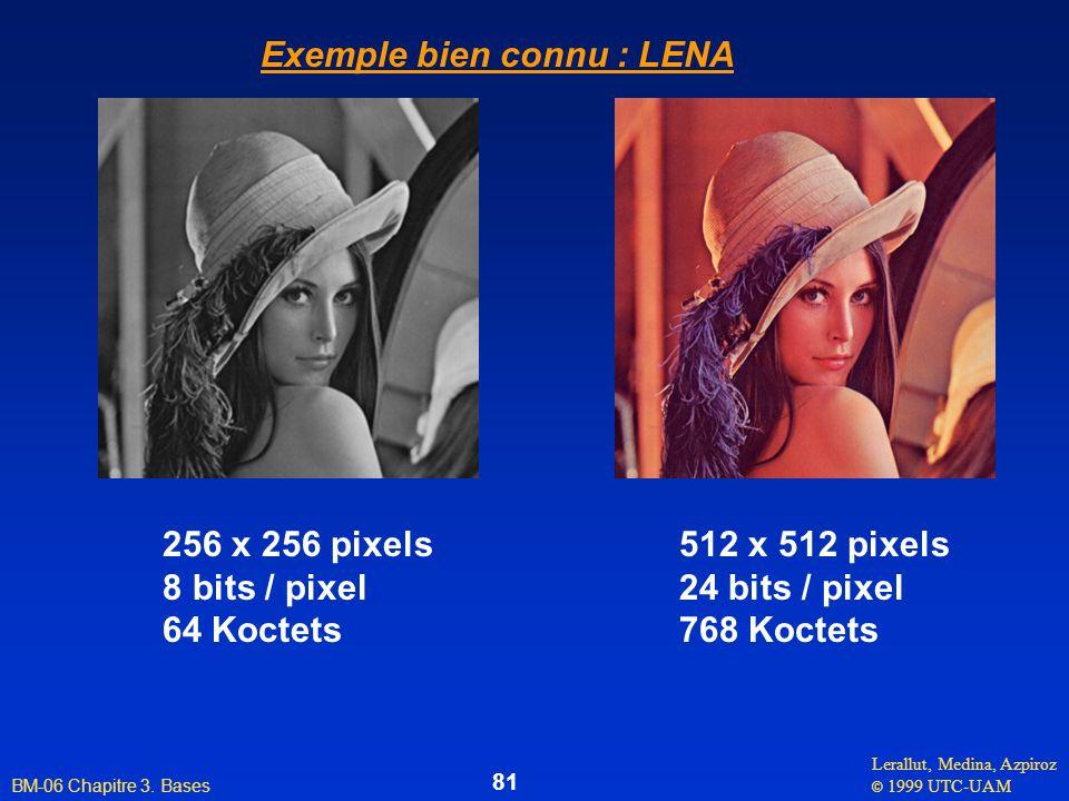 Lerallut, Medina, Azpiroz © 1999 UTC-UAM BM-06 Chapitre 3. Bases 81 256 x 256 pixels 8 bits / pixel 64 Koctets 512 x 512 pixels 24 bits / pixel 768 Ko