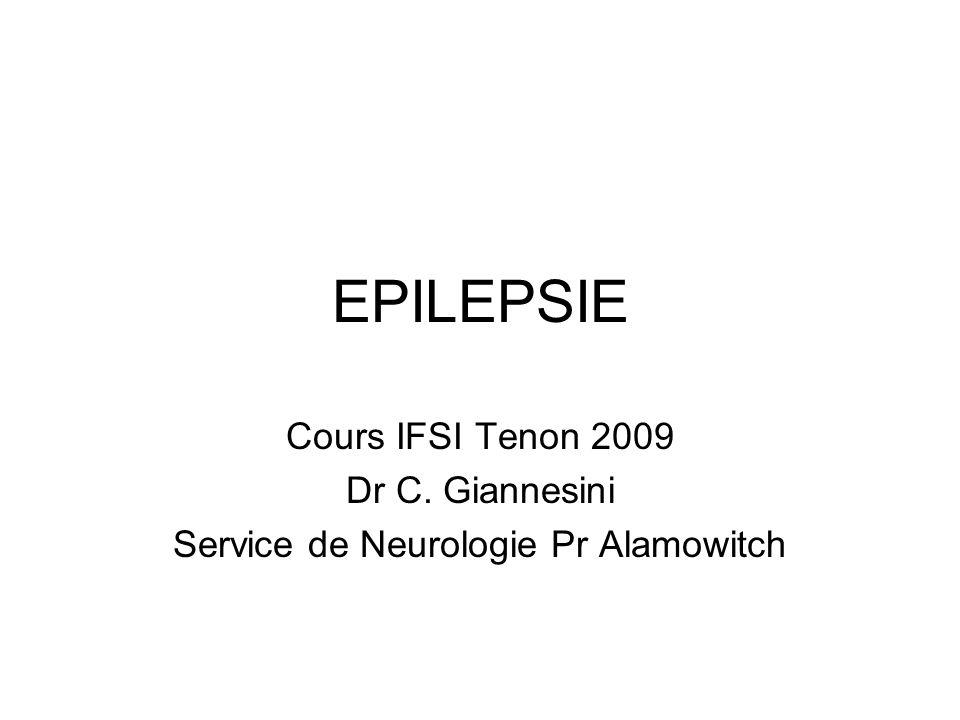 EPILEPSIE Cours IFSI Tenon 2009 Dr C. Giannesini Service de Neurologie Pr Alamowitch
