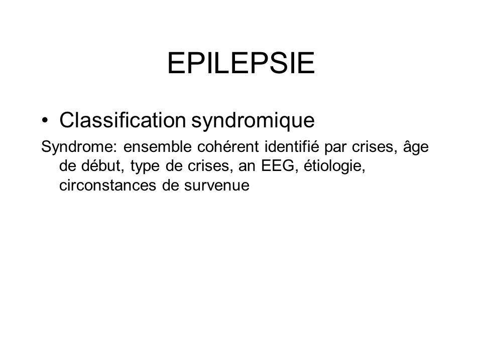 EPILEPSIE Classification syndromique Syndrome: ensemble cohérent identifié par crises, âge de début, type de crises, an EEG, étiologie, circonstances