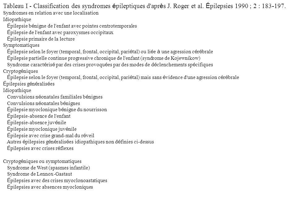 Tableau I - Classification des syndromes é pileptiques d'apr è s J. Roger et al. É pilepsies 1990 ; 2 : 183-197. Syndromes en relation avec une locali