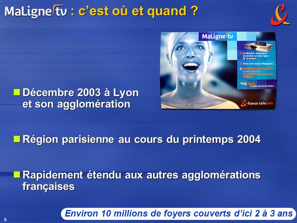 6 : cest où et quand ? Décembre 2003 à Lyon et son agglomération Région parisienne au cours du printemps 2004 Rapidement étendu aux autres agglomérati