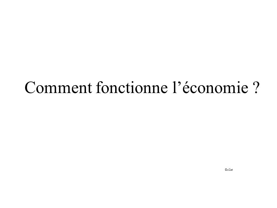 Comment fonctionne léconomie ? ©ollet