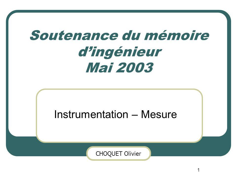 CHOQUET Olivier 1 Soutenance du mémoire dingénieur Mai 2003 Instrumentation – Mesure