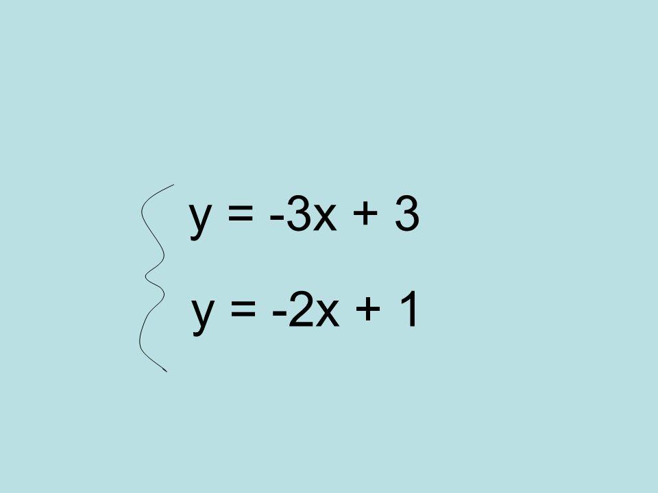 y = -3x + 3 y = -2x + 1